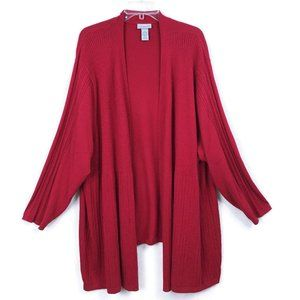 Catherines 5X 34 36 Red Knit Open Front Cardigan